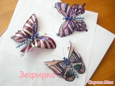 шаблоны бабочек из пластиковых бутылок: