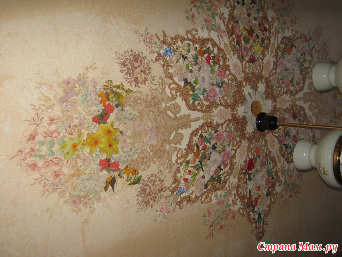 Декор потолка своими руками (38 фото обоями, тканью, и другие) 91