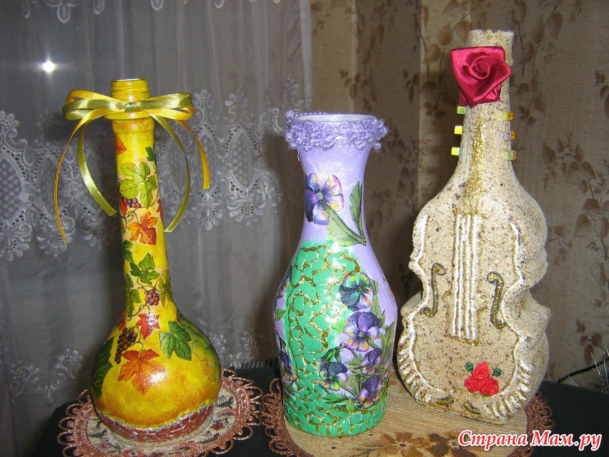 Декорирование бутылки своими руками мастер класс 22