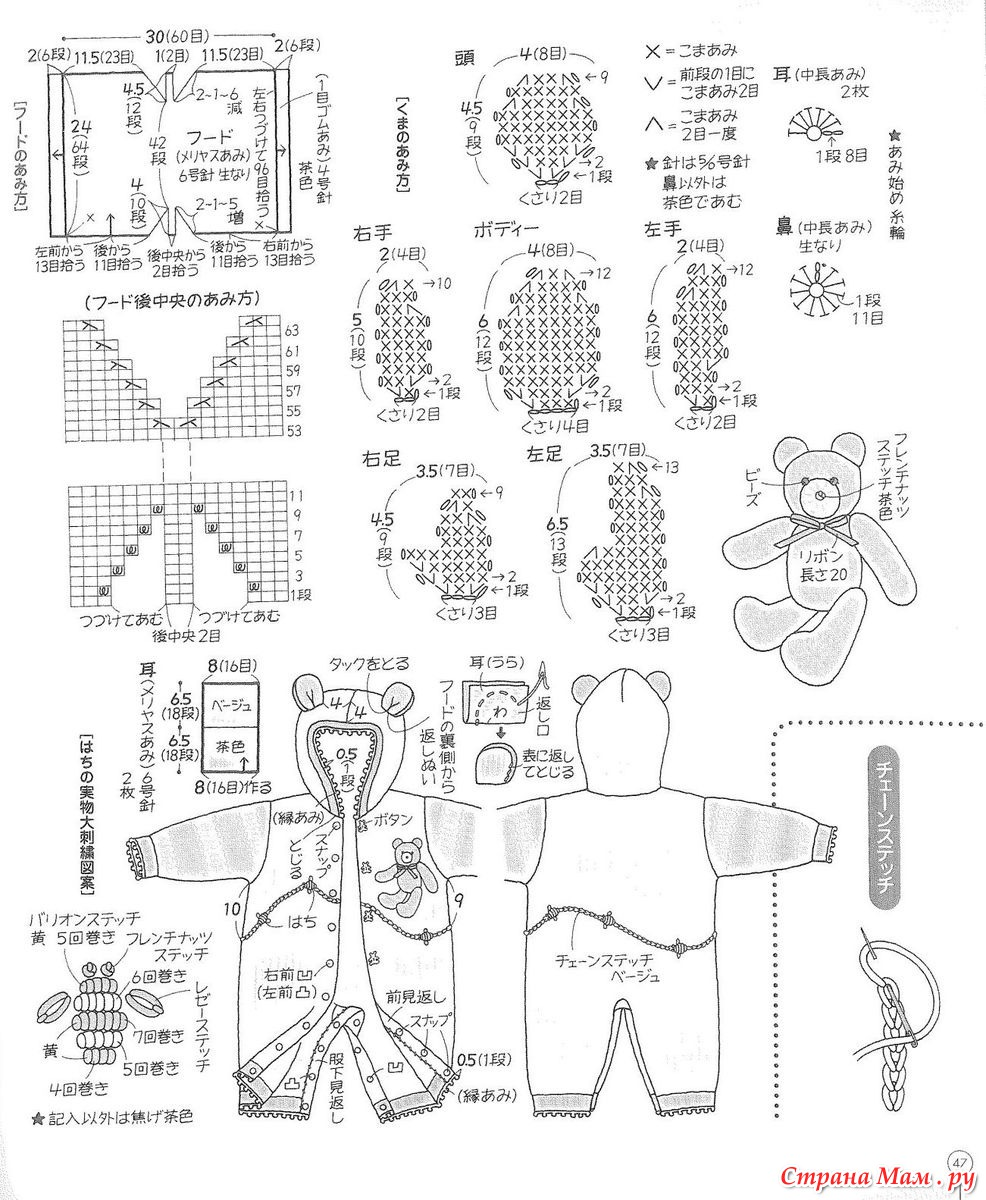 Комбинезон мишки для новорожденных схема