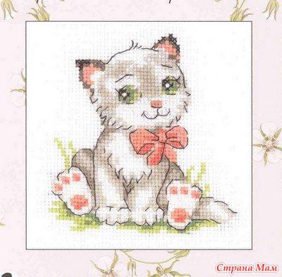 Фото схема вышивки крестом котята