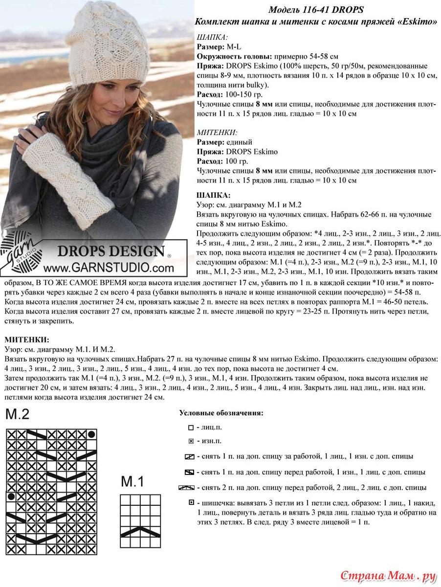 Схемы вязания на спицами шапок