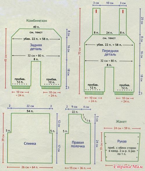 Вязание комбинезона выкройка 64