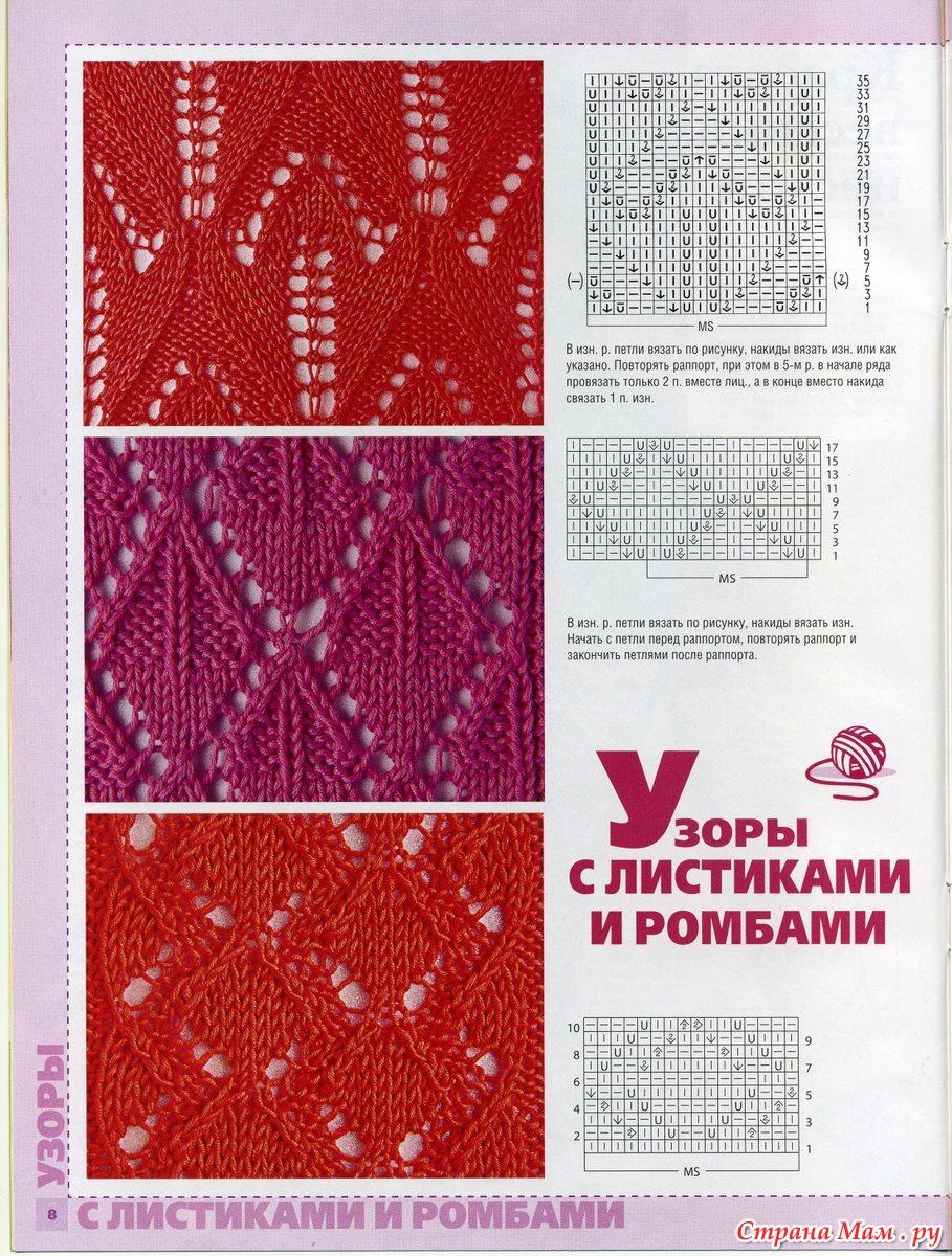 Узоры спицами ромбы со схемами