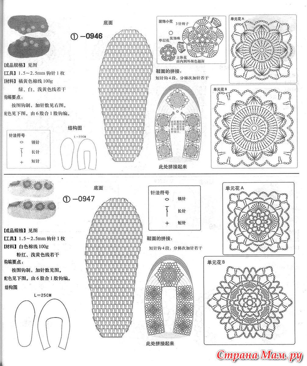 Носки тапочки сапожки крючком схемы