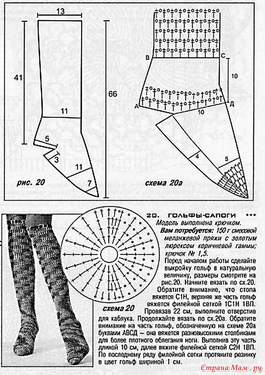 Схемы вязанных туфель крючком