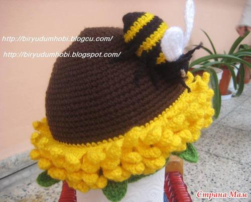 Вязание шапка подсолнух