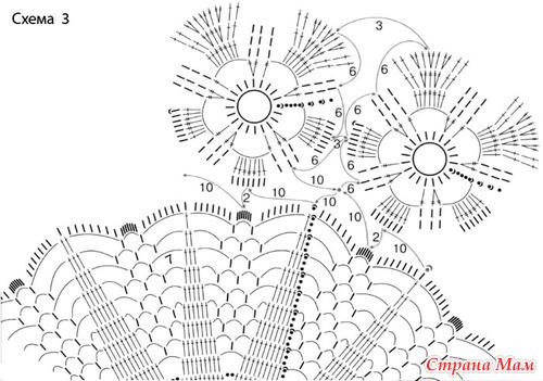 вязания с крючком схема ирисами салфетки