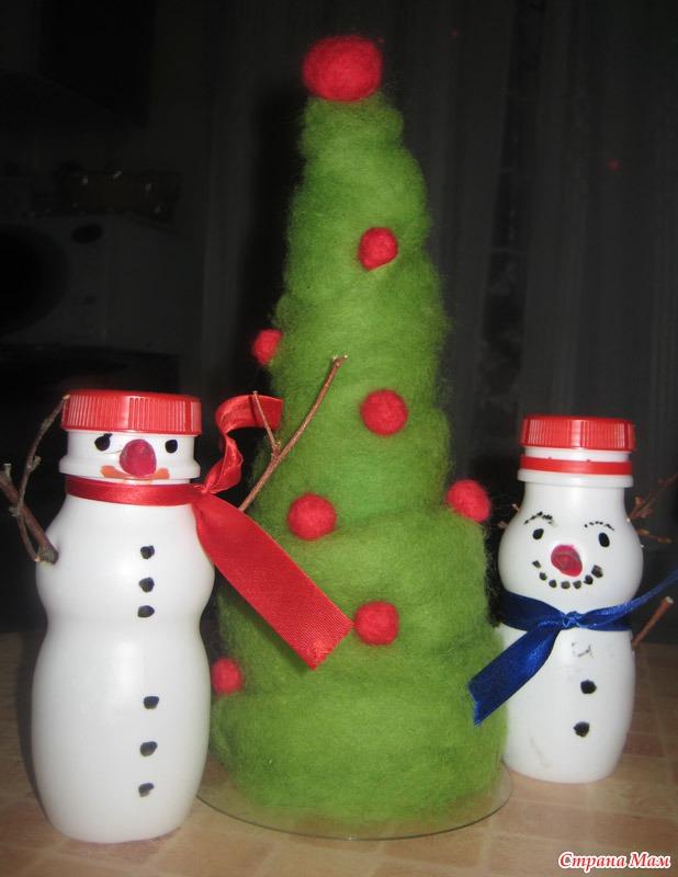 Снеговик своими руками из бутылки растишка