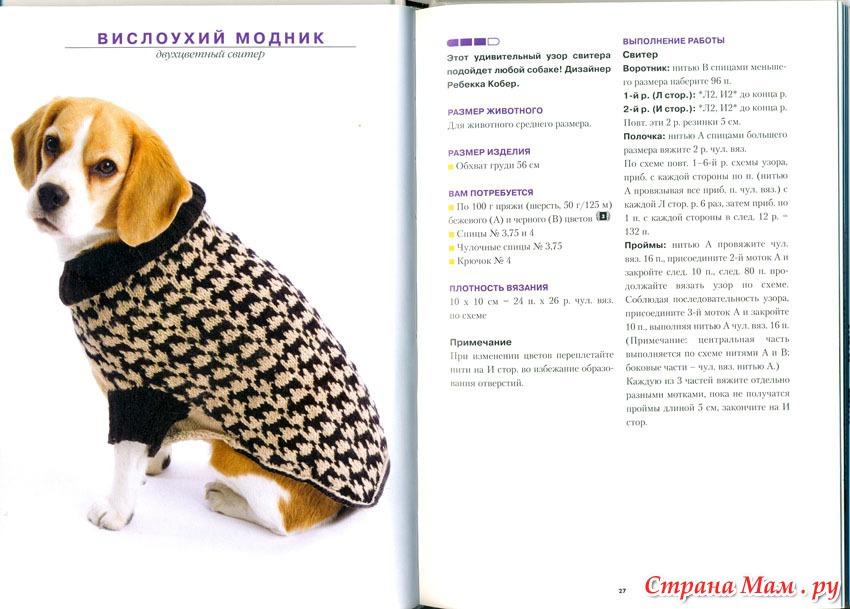 Вязаная одежда для собак крючком своими руками