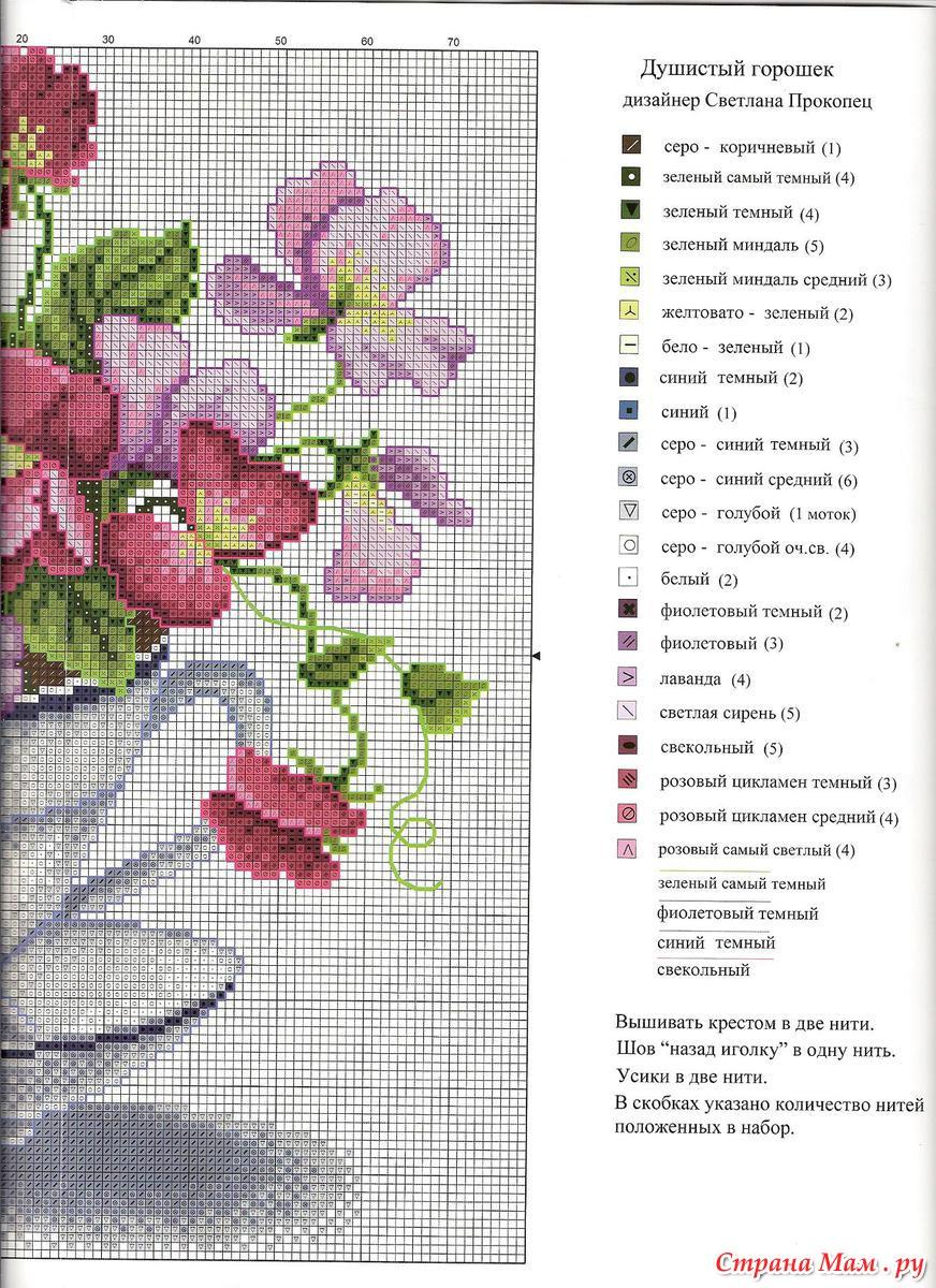 Душистый горошек - Схема для вышивания крестиком