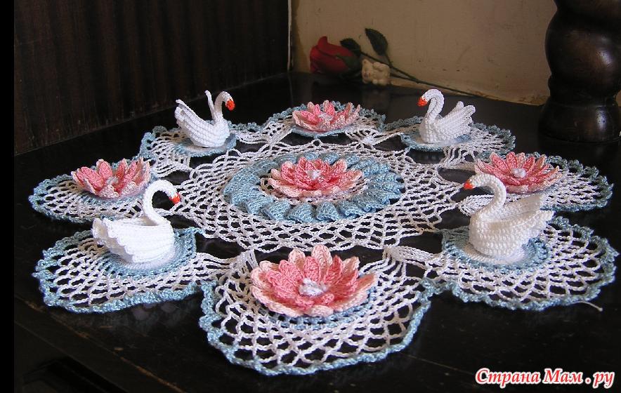 Схема салфетка лебеди