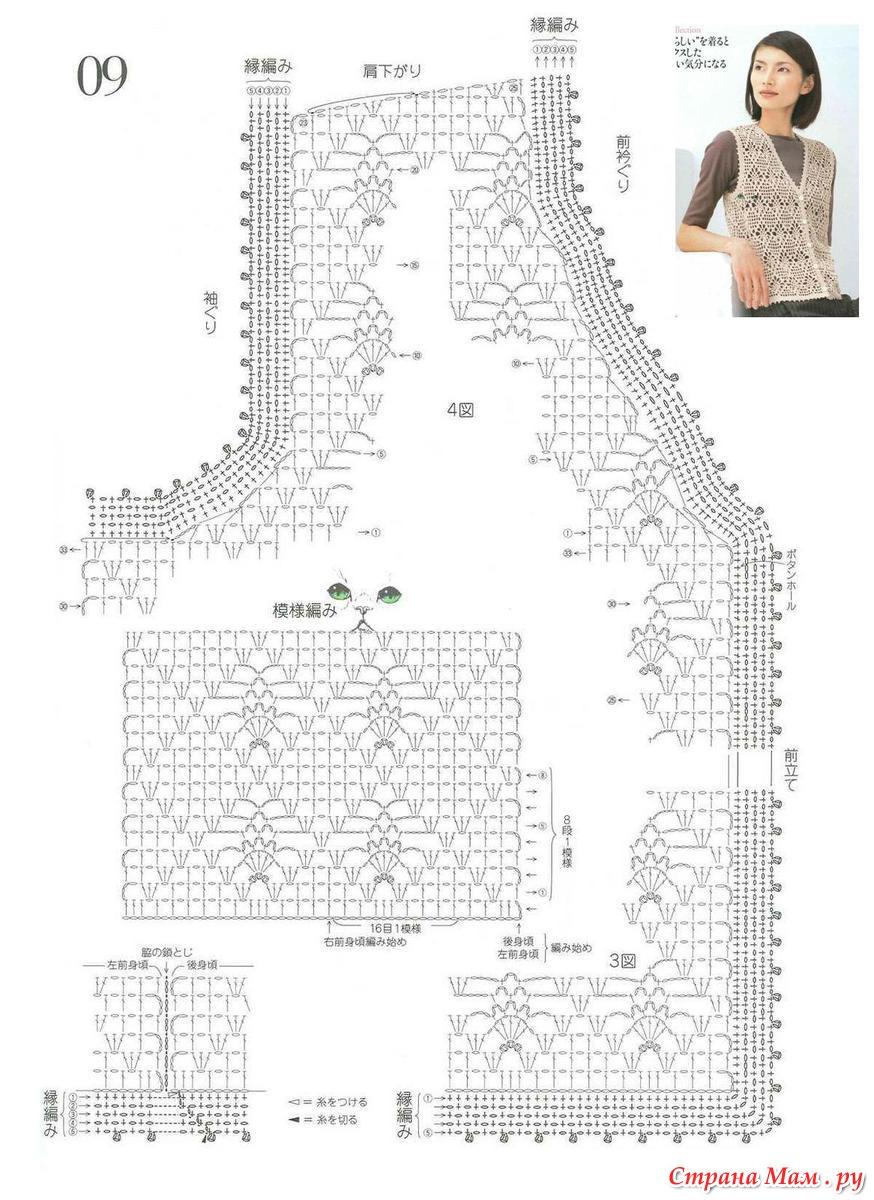 Вязание крючком жакеты и безрукавки схемы Схемы вязания безрукавок - Крючок и спицы. - Схемы