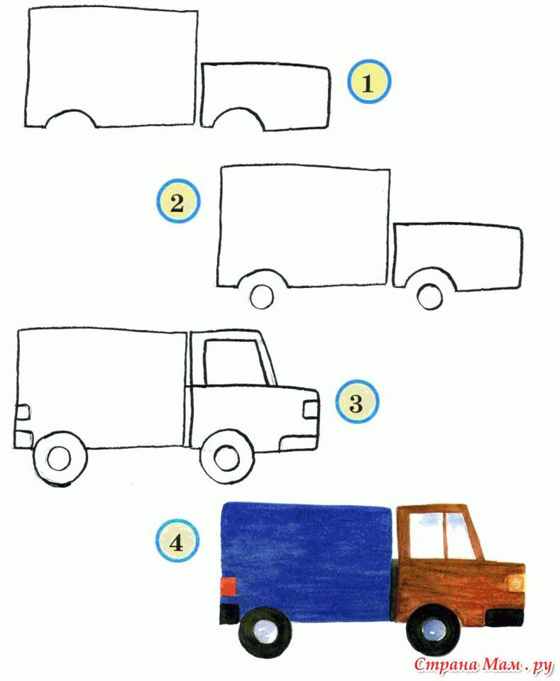Как нарисовать поэтапно грузовую машину