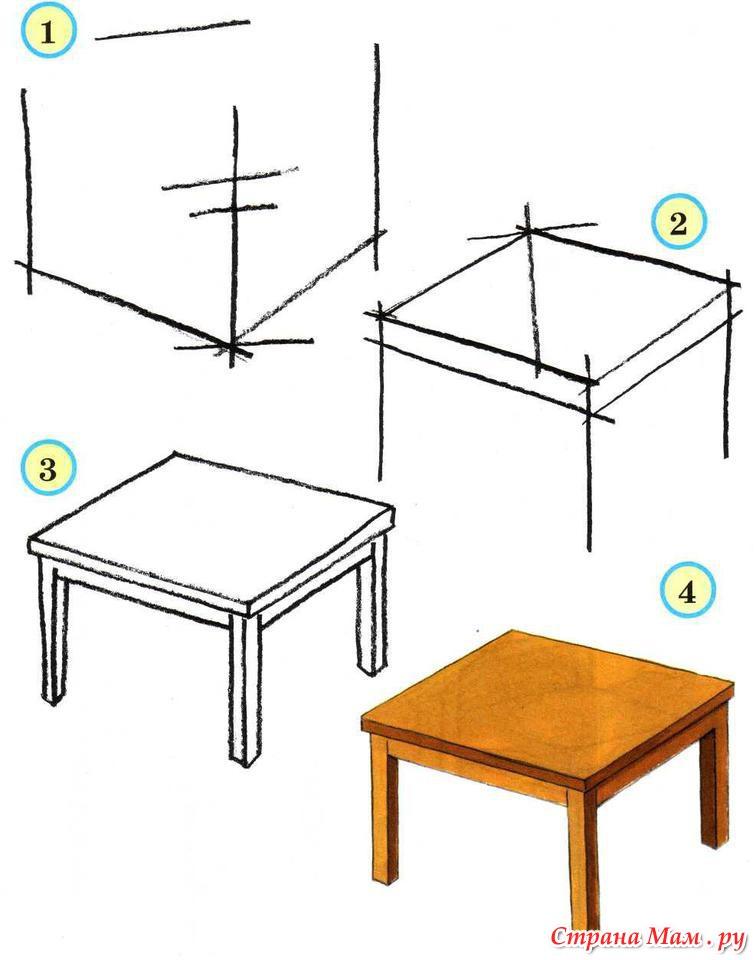 Как нарисовать карандаш на столе