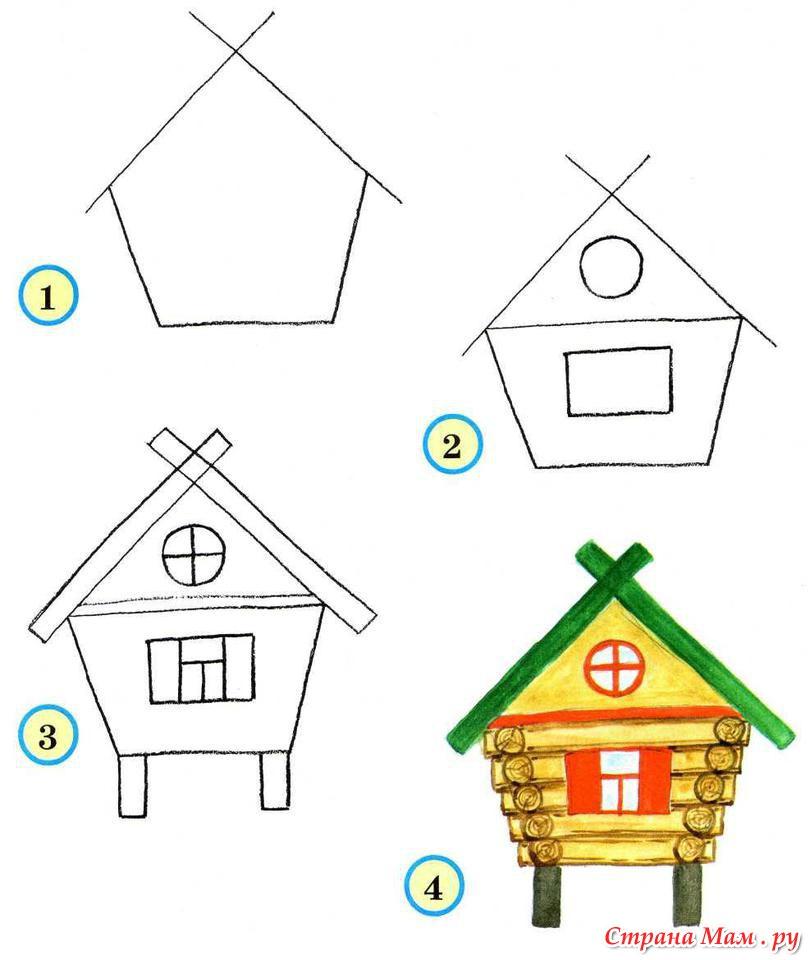 Рисуем домик поэтапно с детьми