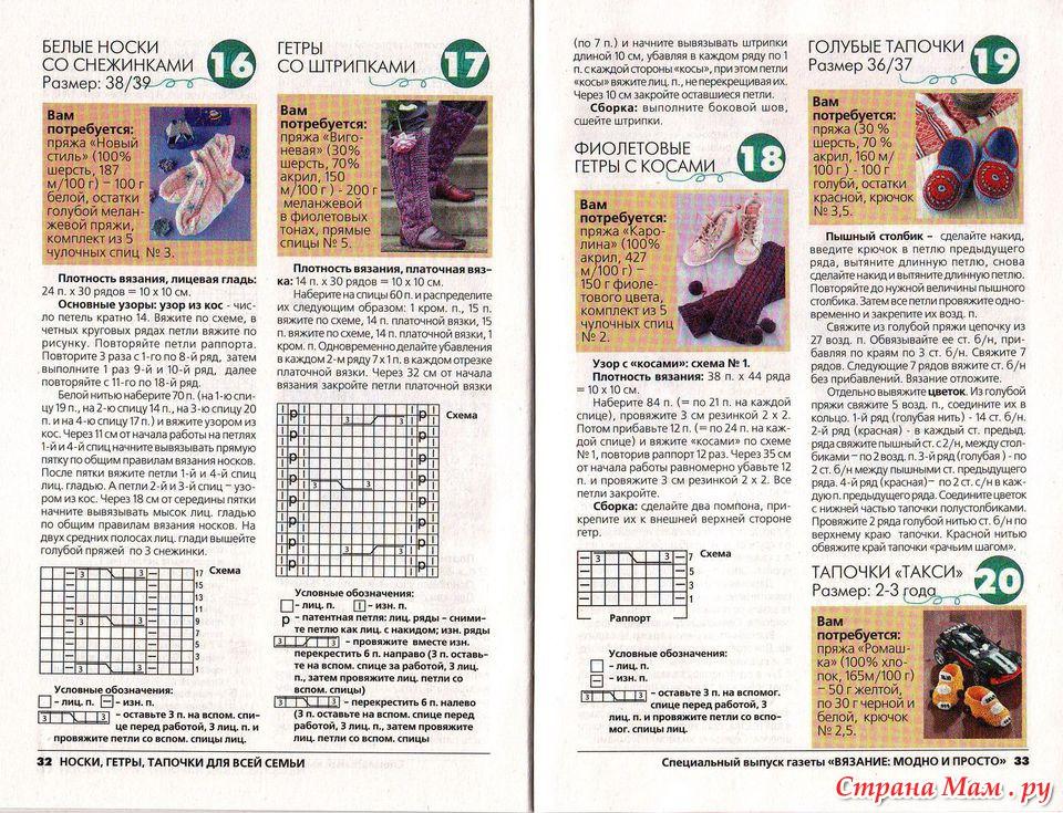 Вязание схема тапочек спицами с