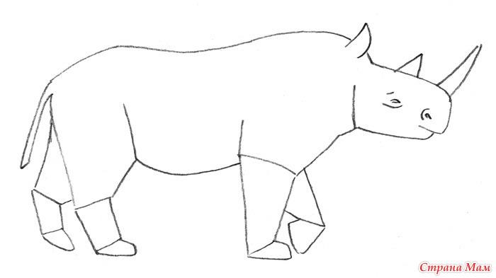 Носорог рисунок легкий