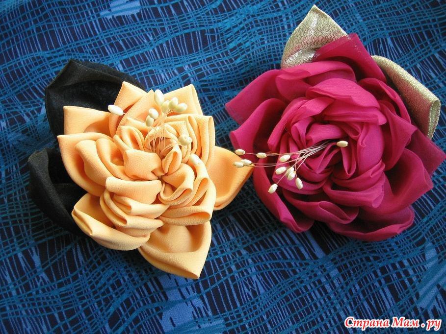 Цветы из материала на платье своими руками