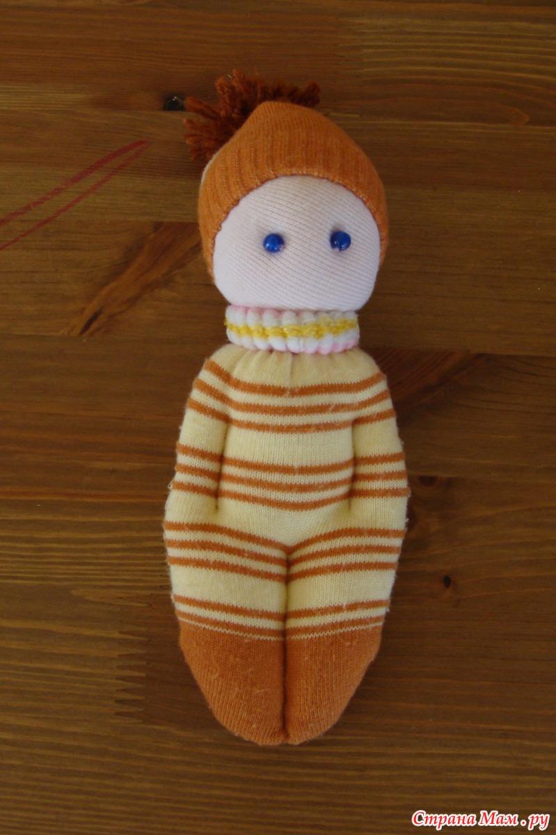 Кукла из носка своими руками для детей пошаговое фото для начинающих 16