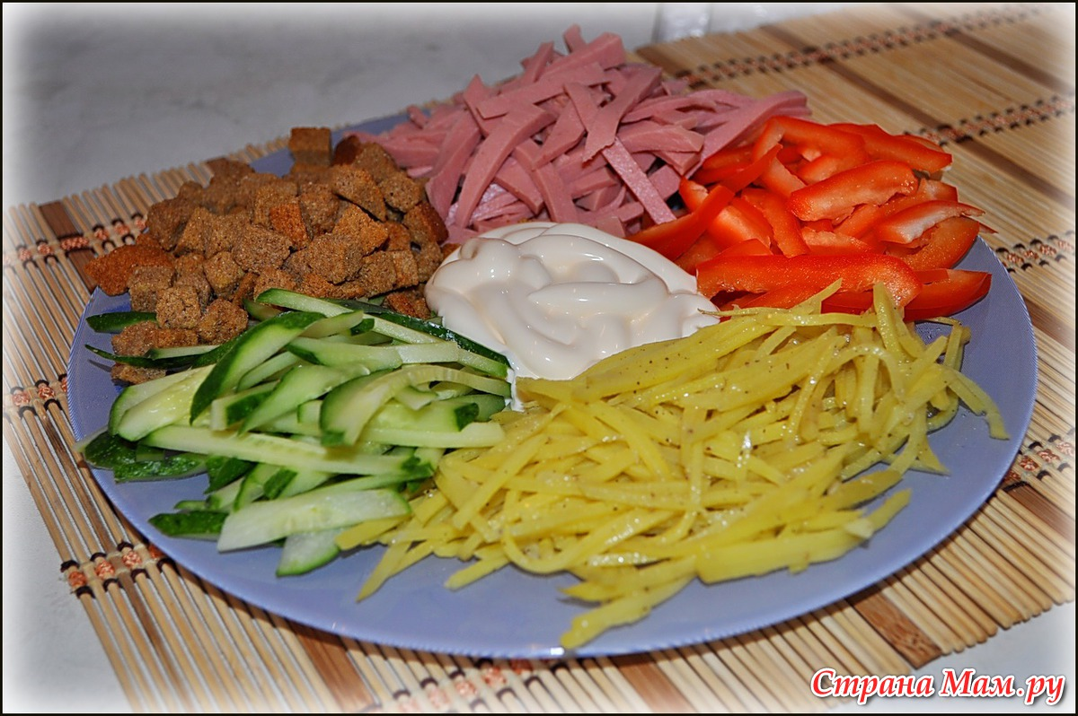 Салат колбаса сыр перец болгарский