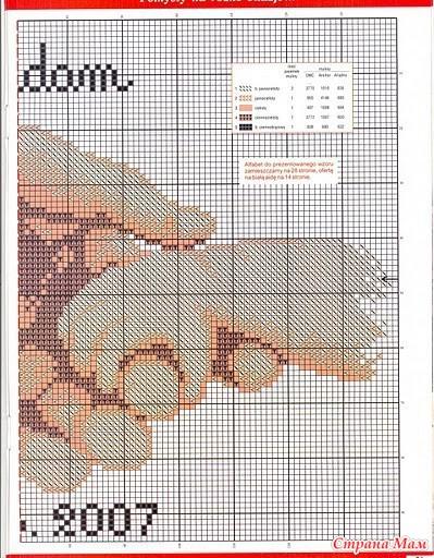 Подробная схема вышивки метрики