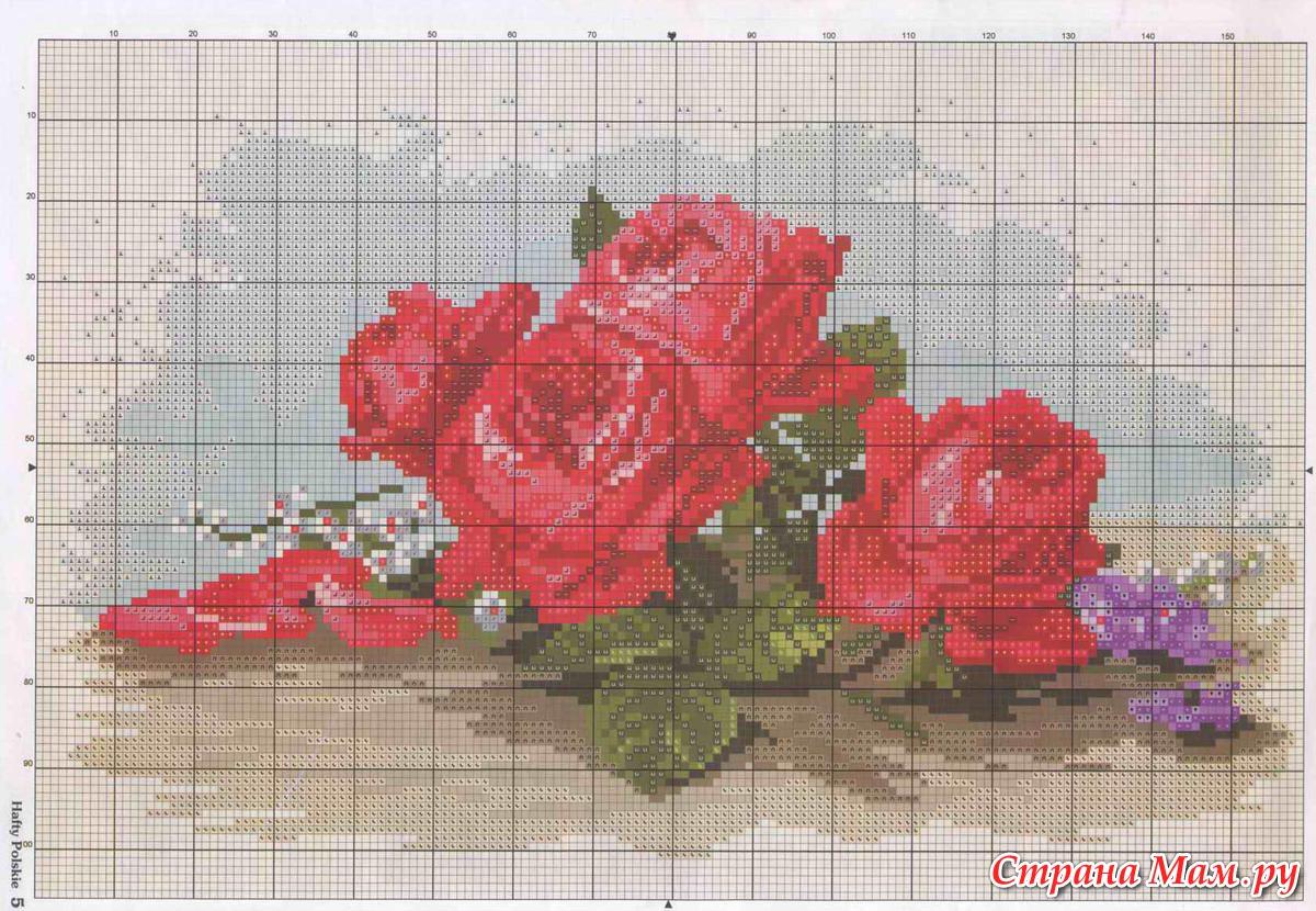 Вышивка крестиком схемы розы букеты