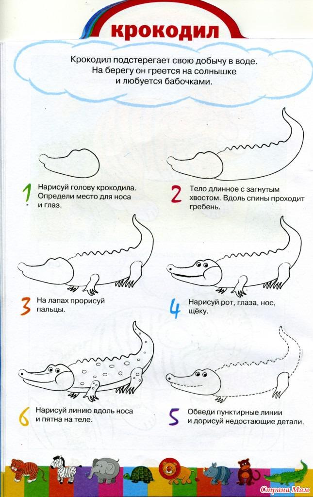 Рисуем с детьми поэтапно крокодил