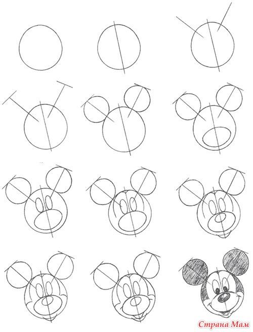 Поэтапно рисовать микимауса