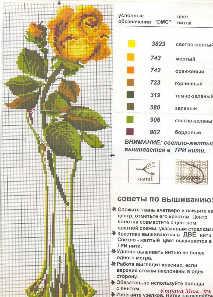 Вышивки крестом цветы в вазе схема 18