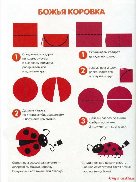 Как сделать из цветной бумаги божья коровка