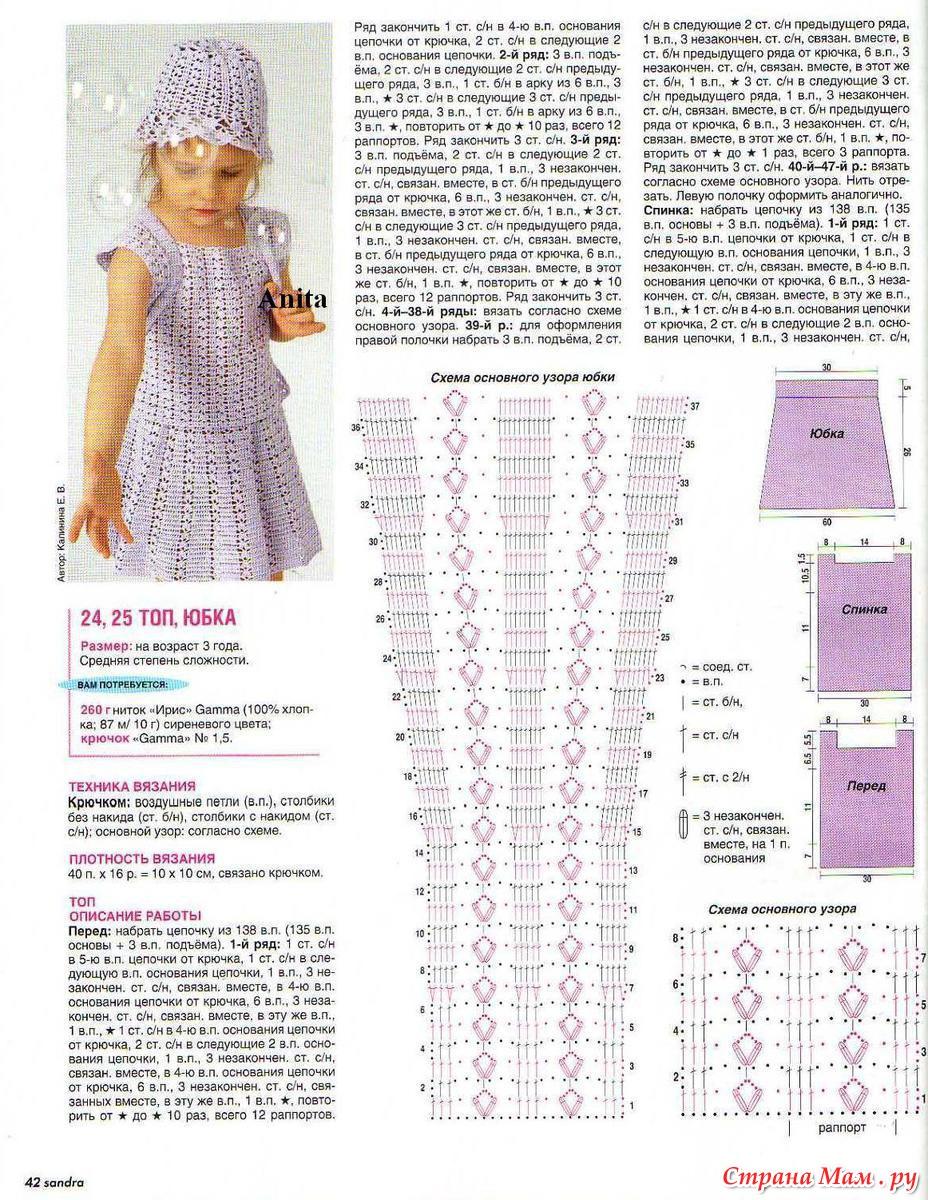 Схемы вязания спицами юбок для детей