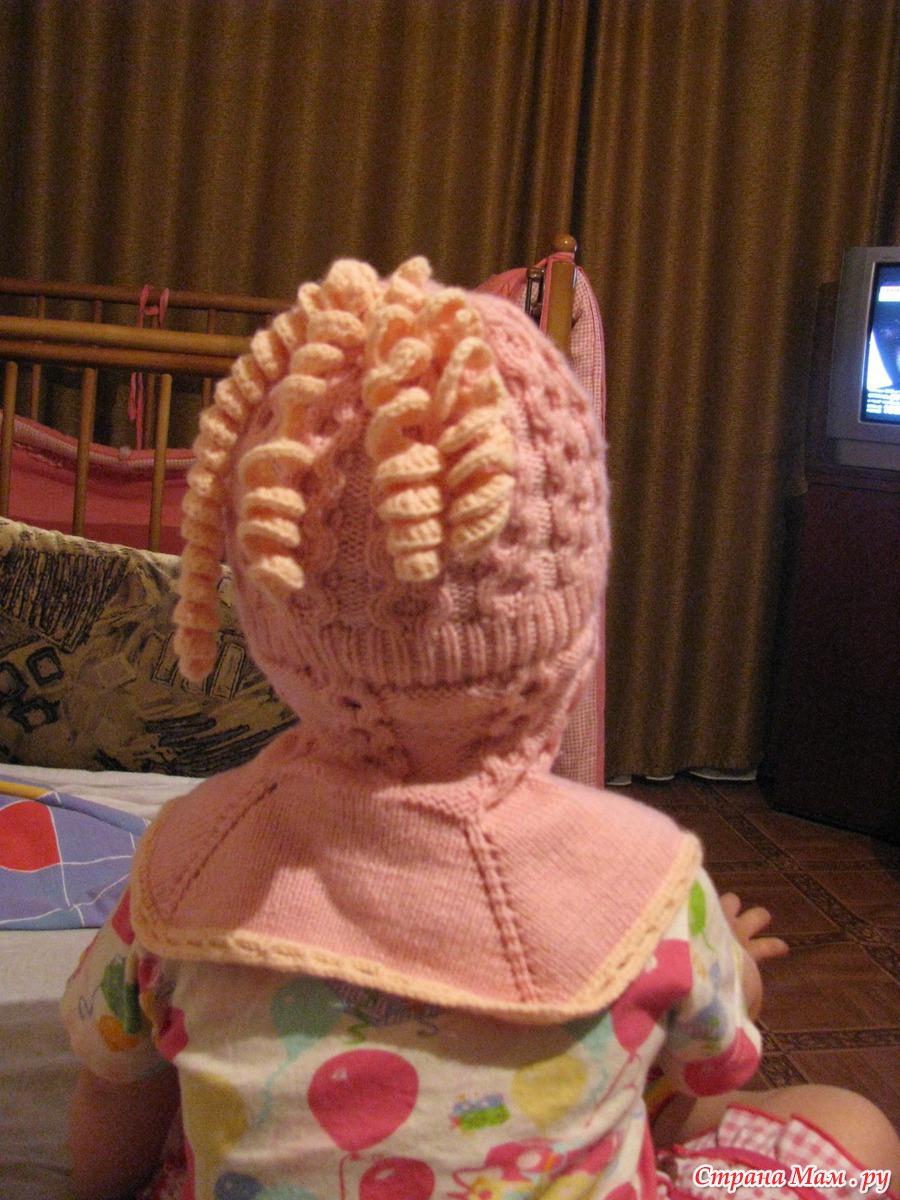 шапочки-шлемы для девочек спицами схемы