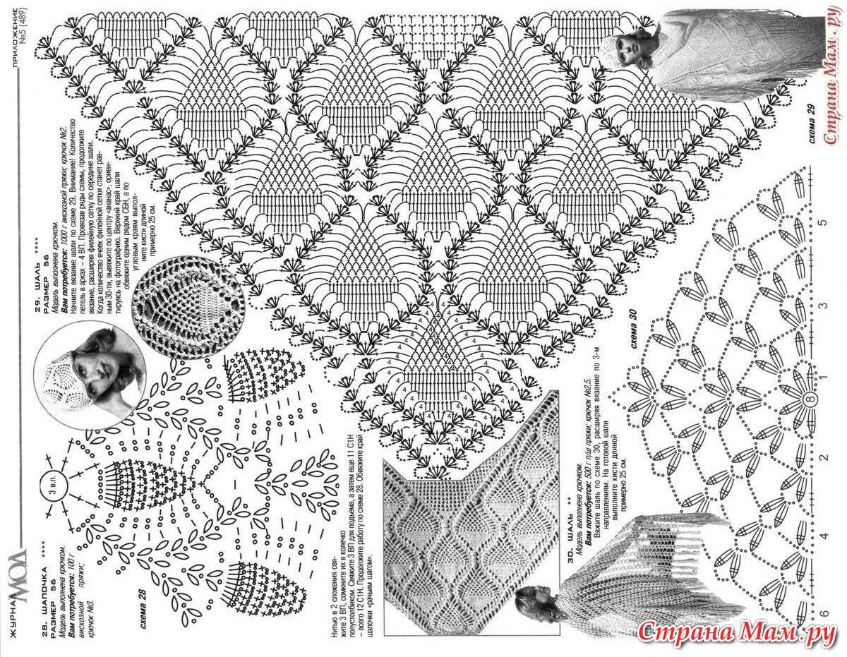 Вязание крючком схемы шали схемы с ананасами