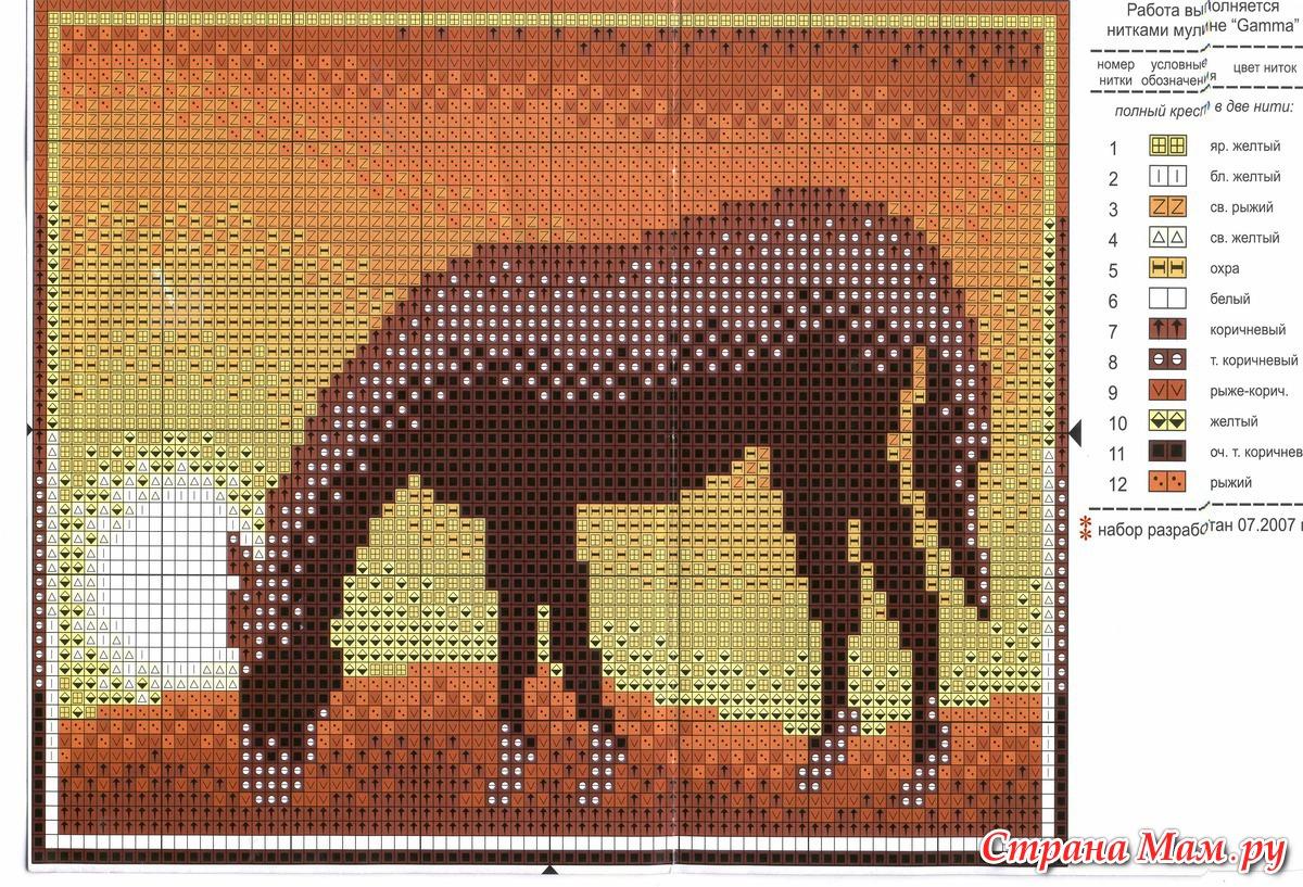 Схема вышивки крестом лошади большого размера 74