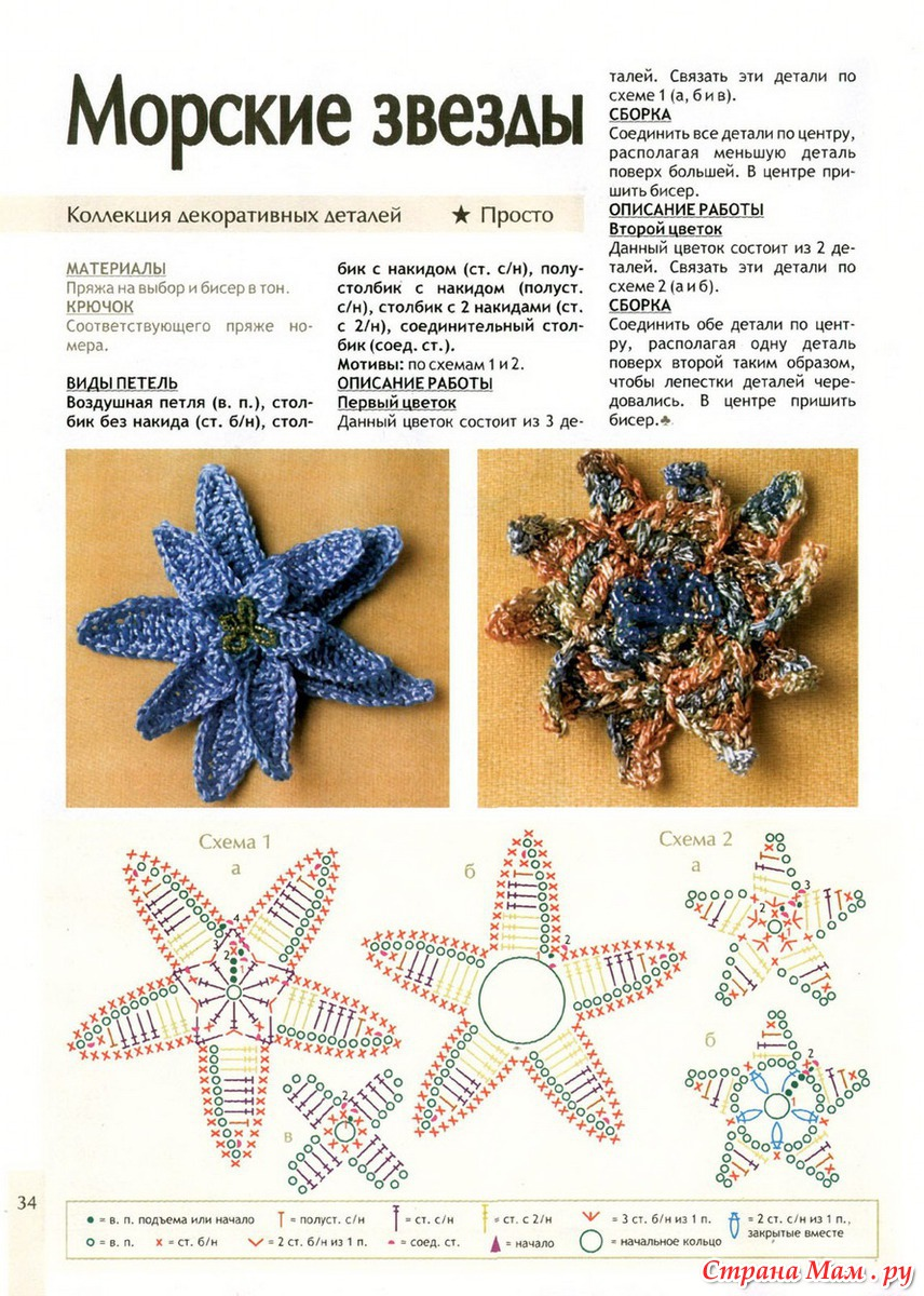 Вязаные звезды крючком схемы