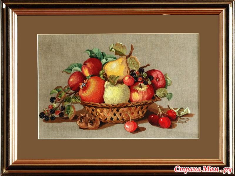 Вышивка гладью натюрморт с цветами