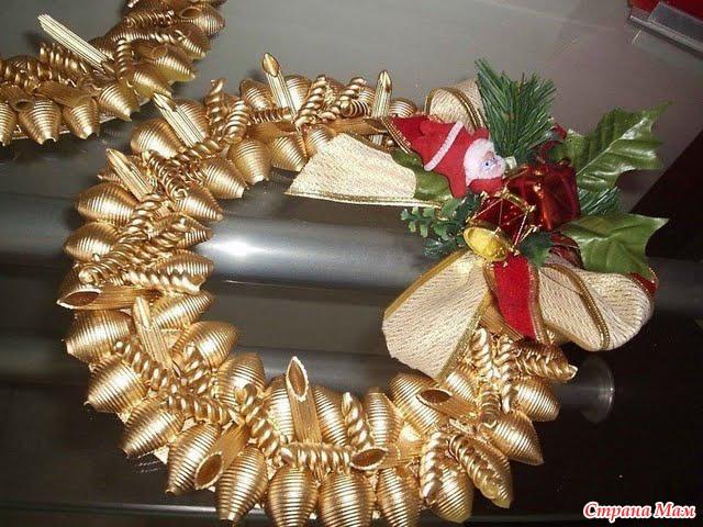 Новогодние игрушки из макарон своими руками
