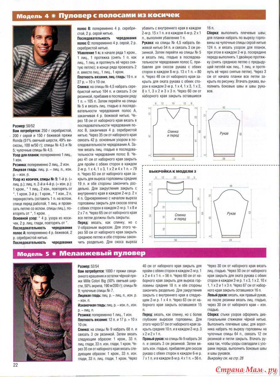 Рукав свитера мужского спицами схема