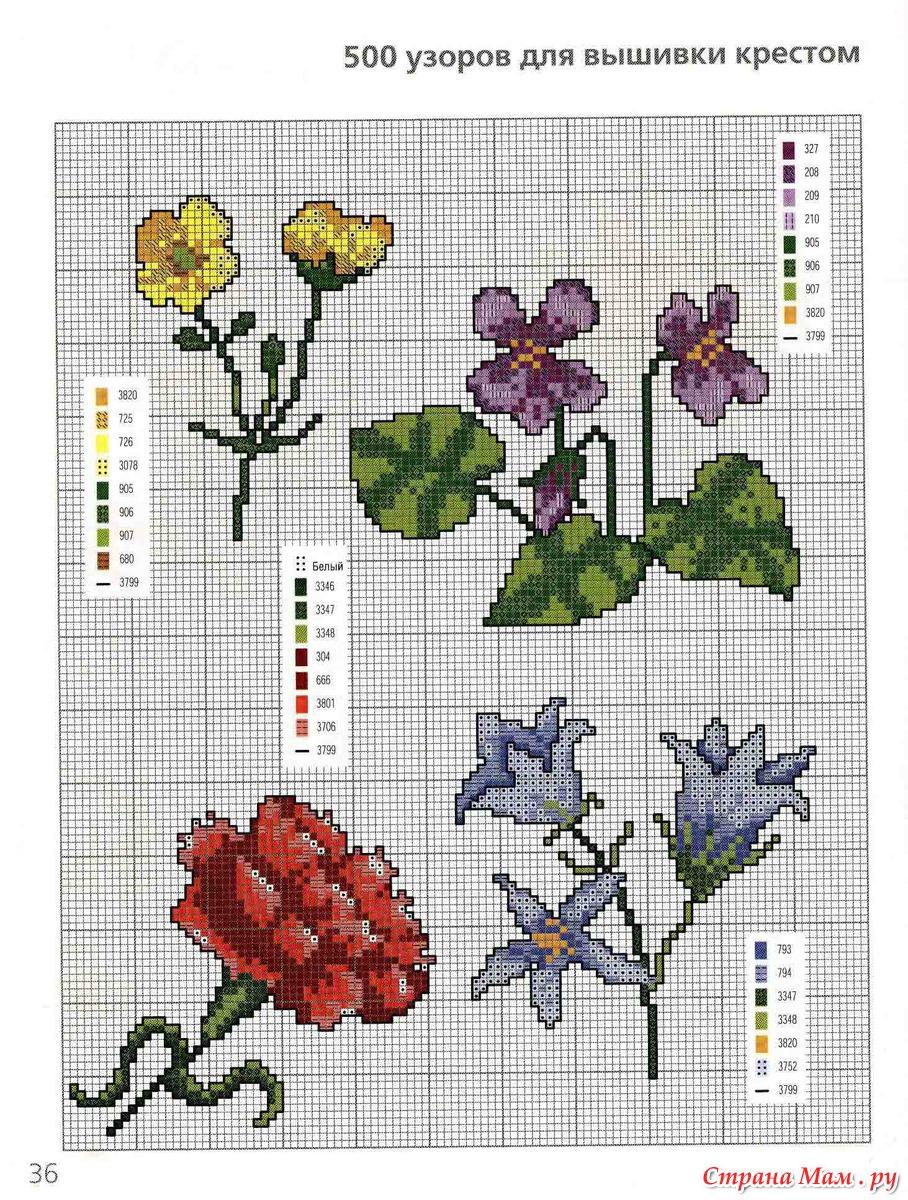 Вышивка крестом маленьких цветов схема