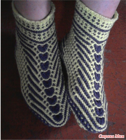 вязание спицами носки на двух спицах