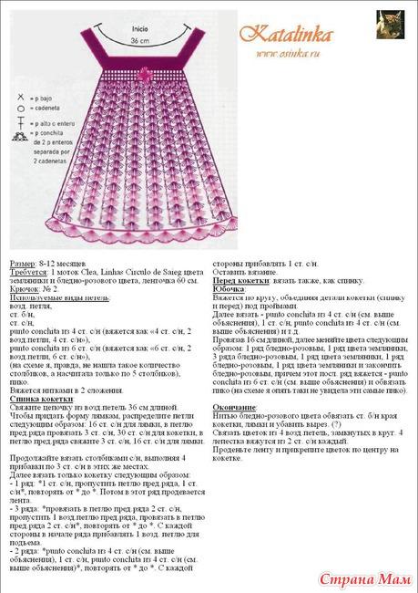Вязание крючком сарафан для девочки 2 лет схемы