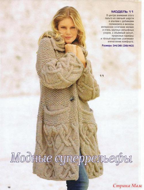 описания вязанных пальто.