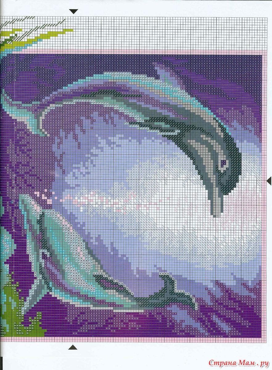 Вышивка крестом: Дельфины схема 47