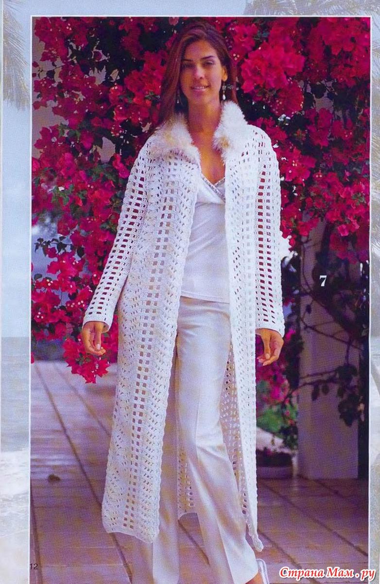 Женское пальто вязаное крючком