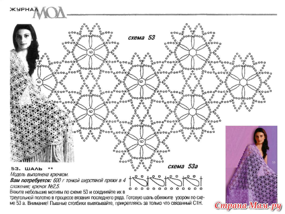 Простые схемы вязания крючком шали с угла 2