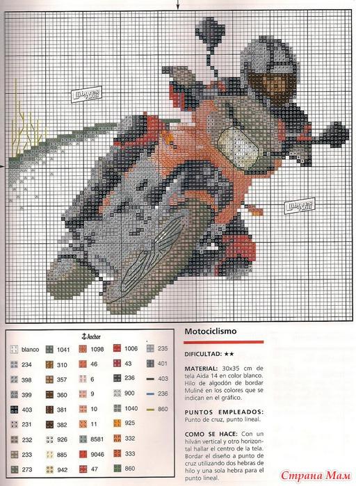 Вышивки крестом мотоциклы схемы