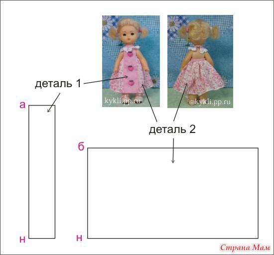 Выкройка платья для куклы для новичков 150