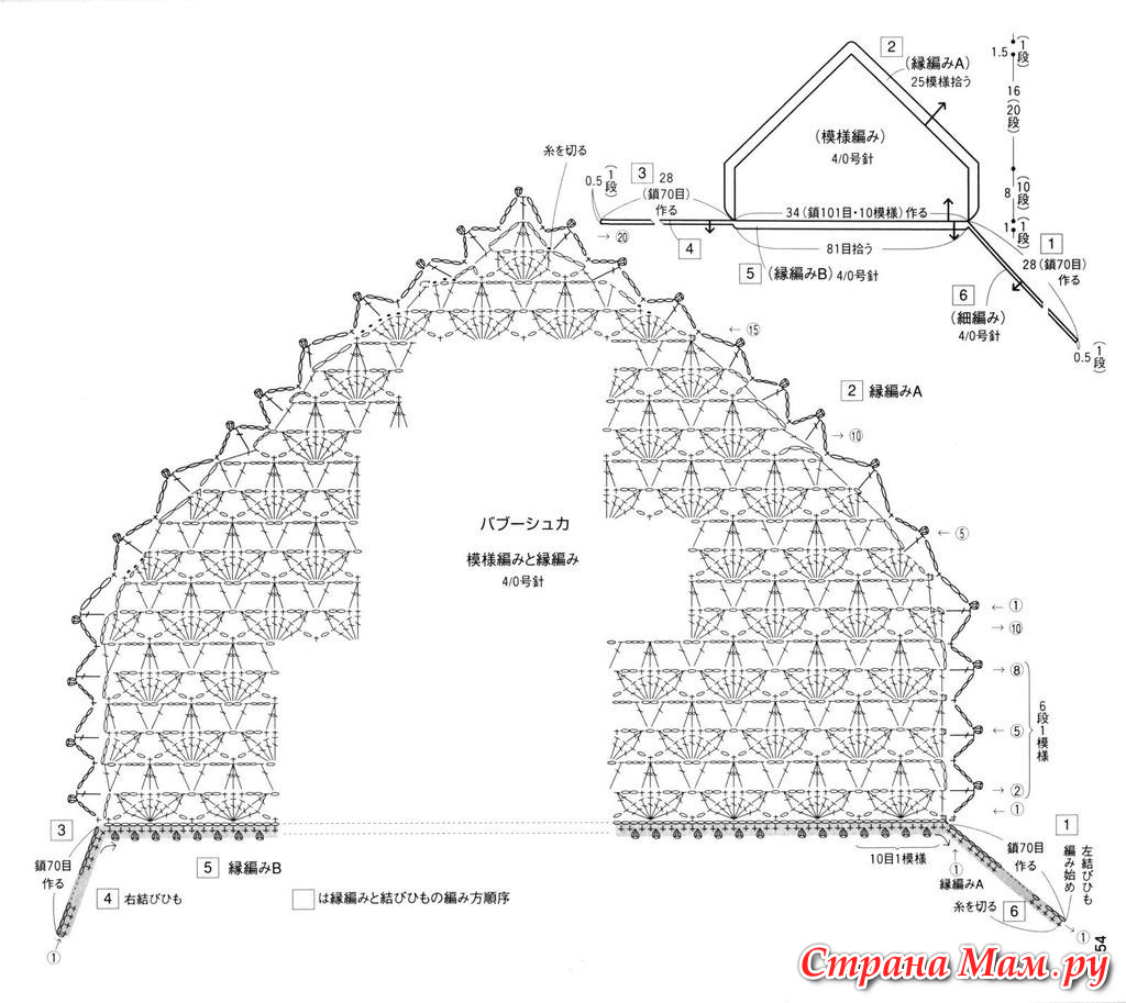 Платок в церковь крючком схемы
