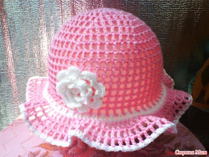 Розовая панамка-сетка с